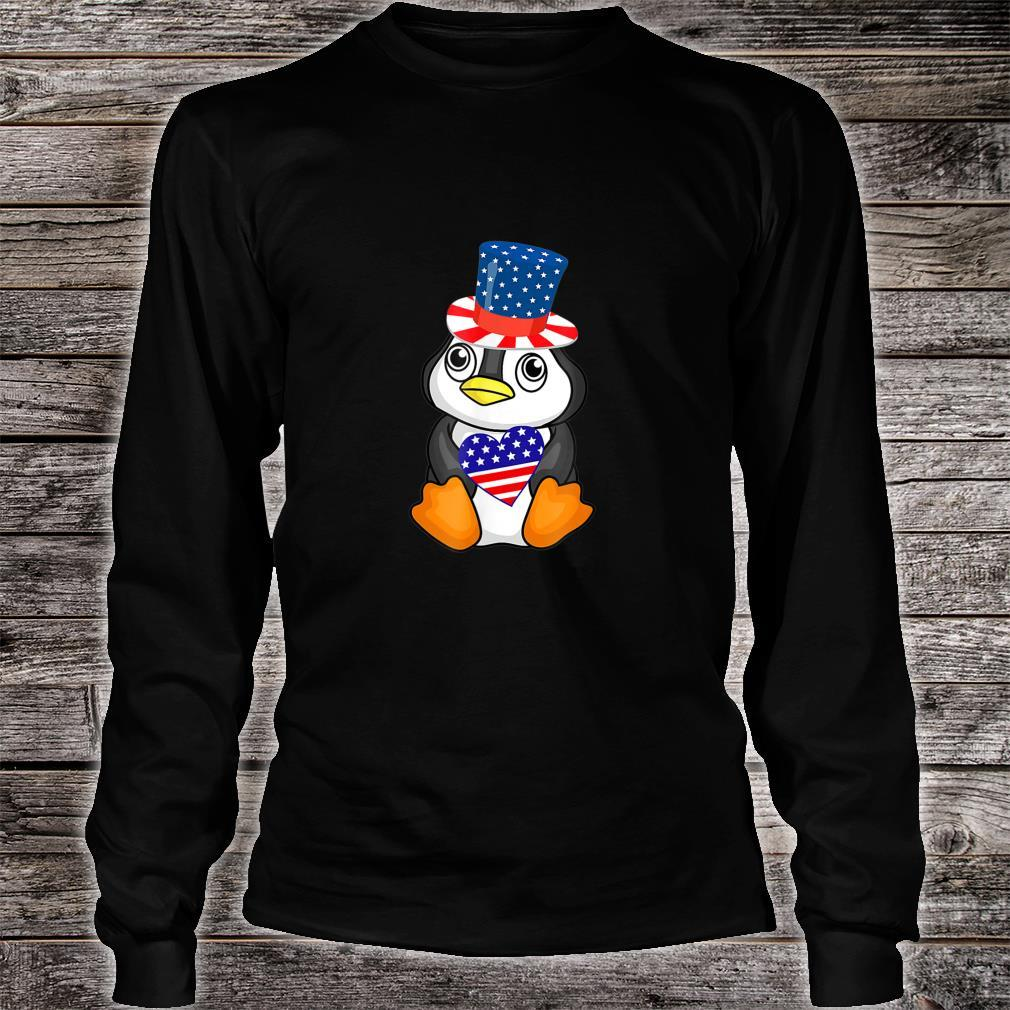 Cute Patriotic Penguin Holding US Flag Heart 4th of July Shirt long sleeved