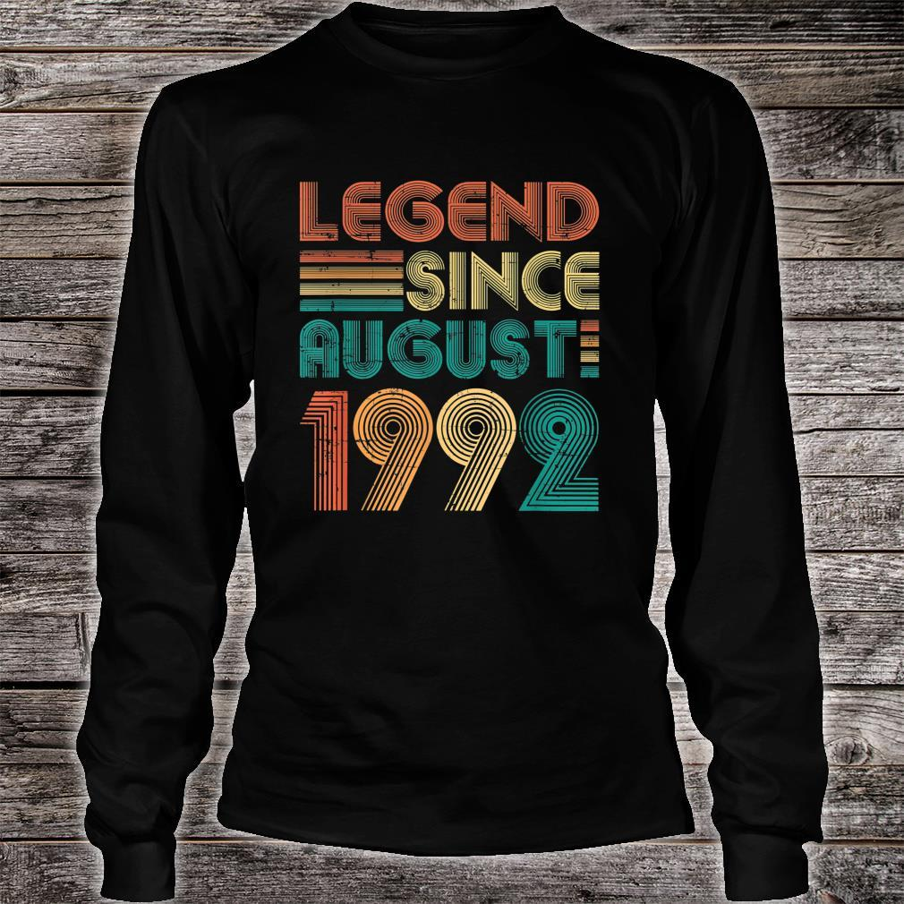 Legend Since August 1992 29th Birthday 29 Years Old Shirt long sleeved