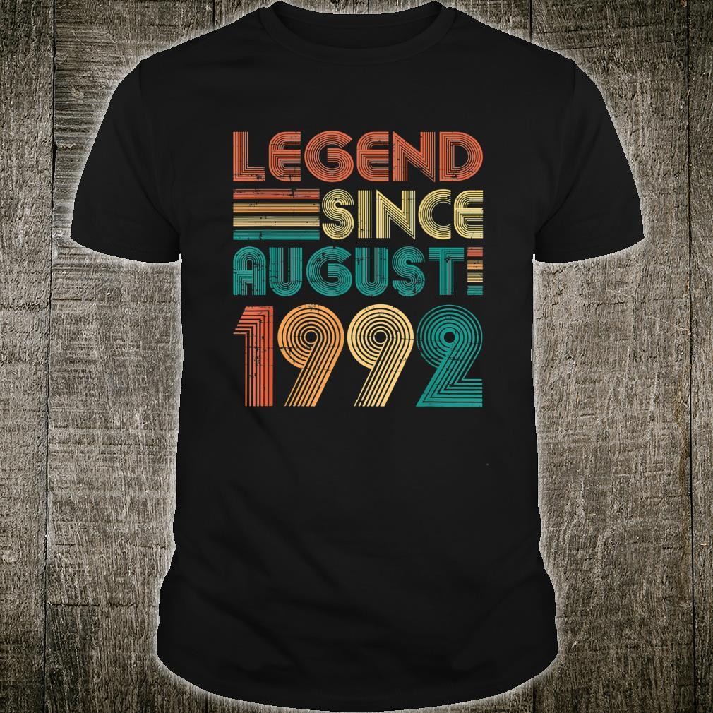 Legend Since August 1992 29th Birthday 29 Years Old Shirt